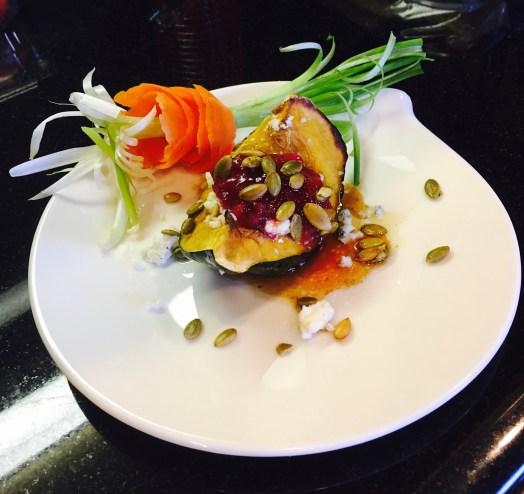 Acorn Squash with Cranberry Mango Habanero Sauce and Blue Cheese