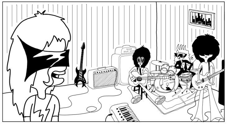 In the rehearsal studio. A scene from The Foshays upcoming comic.
