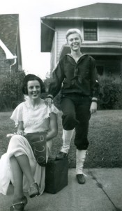 "Homecoming Parade Oct. 1947 ""Me"" and Marge Little"