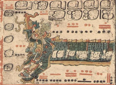 Itzamna, patron of the day Ajpu, emerges from the mouth of the serpent, from the Dresden Codex