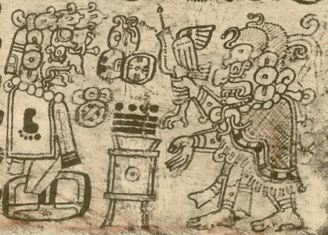 Kinich Ahau, the solar deity, lord of space and time. From the Dresden Codex.