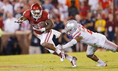 Despite a dynamic night of 225 all-purpose yards and a 97-yard kickoff return for a touchdown, Joe Mixon had only three rushing attempts during the Sooners' first nine possessions. (PHOTO: Ty Russell/SoonerSports.com)