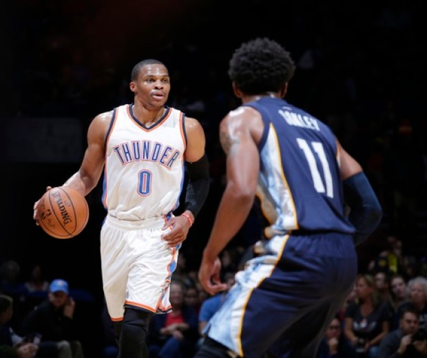 Russell Westbrook played on the first half Thursday against the Memphis Grizzlies in Oklahoma City's preseason game at the BOK Center in Tulsa. (PHOTO: Shane Bevel/Getty Images)