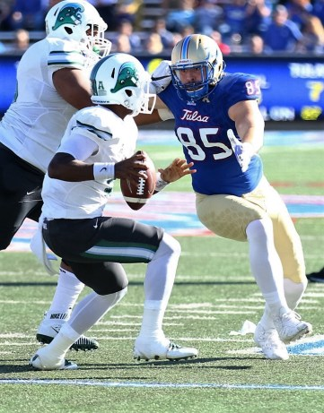 University of Tulsa defensive lineman Kolton Shindelar bears down on Tulane quarterback Glen Cuiellette on Saturday, Oct. 22, at Chapman Stadium in Tulsa.