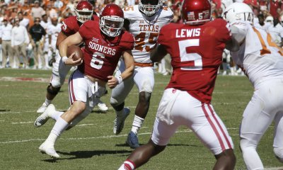 Oklahoma's Baker Mayfield (6) runs for a touchdown during the Red River Showdown college football game between the University of Oklahoma Sooners (OU) and the Texas Longhorns (UT) at Cotton Bowl Stadium in Dallas, Saturday, Oct. 8, 2016. Oklahoma won 45-40. Photo by Bryan Terry, The Oklahoman