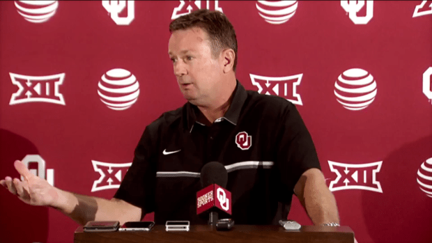 "Bob Stoops said he believes in the players he recruits ""maybe to a fault."""