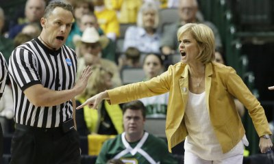 """Baylor head coach Kim Mulkey said Saturday it's time to """"move on"""" from the Baylor sexual assault scandal and seemed to advocate physical violence against those who criticize Baylor. (AP Photo/LM Otero)"""