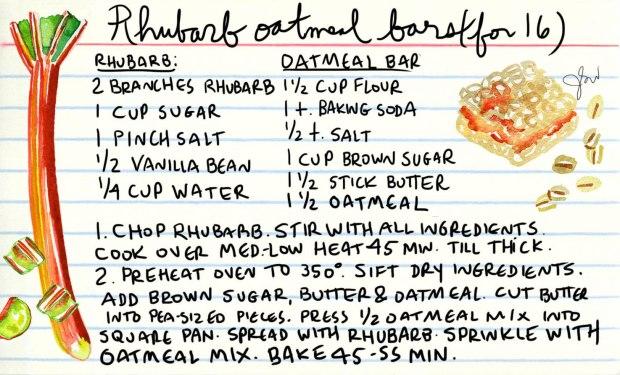 Rhubarb oatmeal recipe card_Jessie Kanelos Weiner_thefrancofly