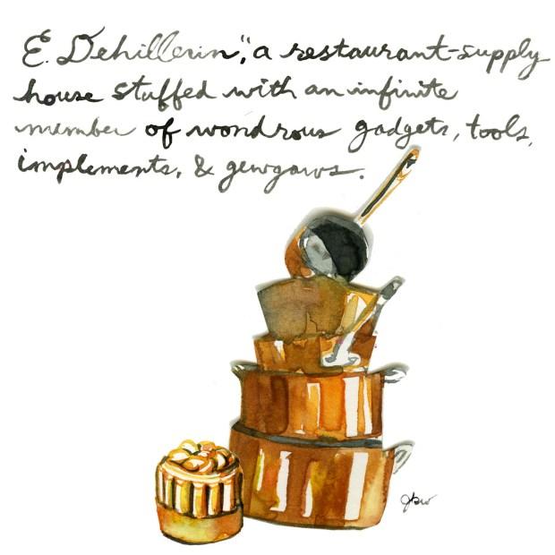 Julia Child's favorite places in Paris. Julia Child guide to Paris. E.Dehillerin copper pots. Best kitchenware stores in Paris. French copper pots