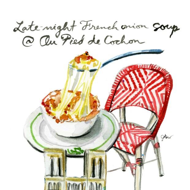 Julia Child's favorite places in Paris. Julia Child guide to Paris. Best French onion soup, Au Pied de Cochon. Best late-night eats in Paris