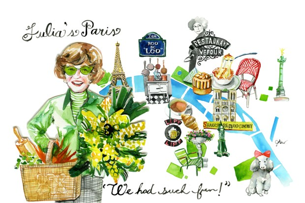 An illustrated watercolor map guide to Julia Child's favorite boutiques, restaurants and other haunts in Paris.