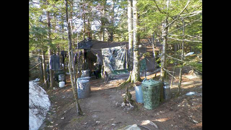The camp where North Pond Hermit Christopher Knight lived.