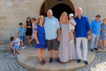 Godmother, father, mother, Tiago, godfather infront of the church in Felgar where the christening takes place....