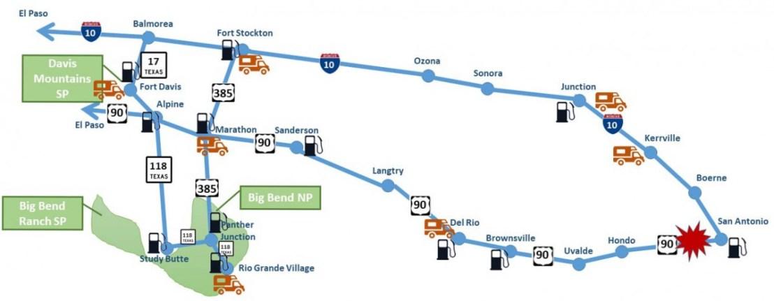 BigBend Trip Map blocked