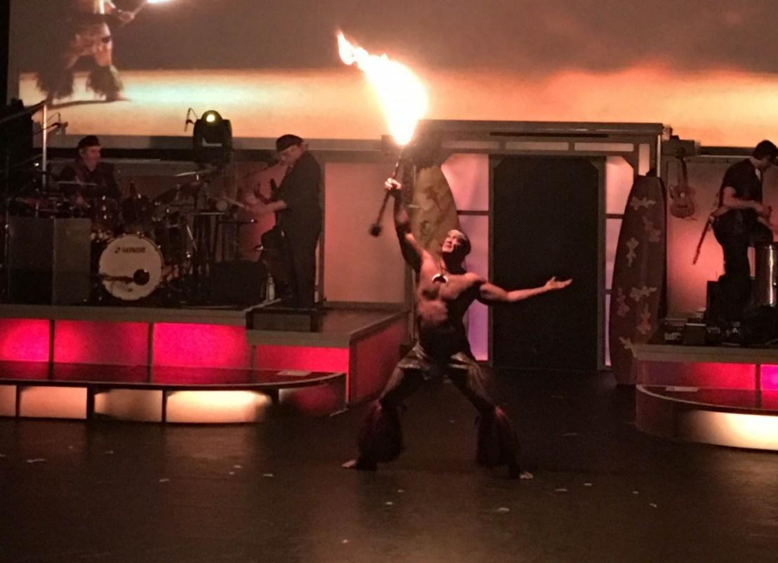 Samoan Fire Knife Dancer - Rock a Hula Show at the Royal Hawaiian Center Theater