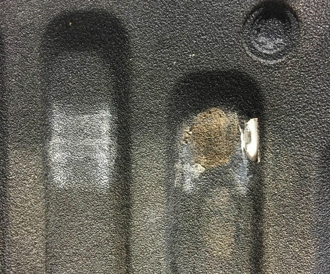 Truck Bed Liner Damage - Corner Front of Bed, Passenger Side