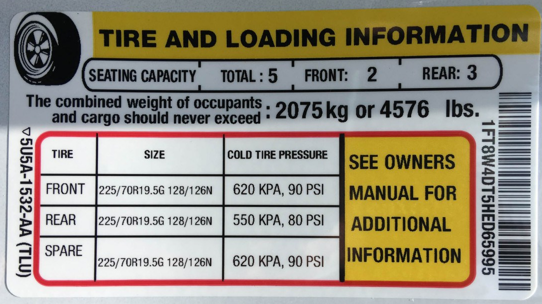 Ford F-450 Tire and Loading Information Sticker