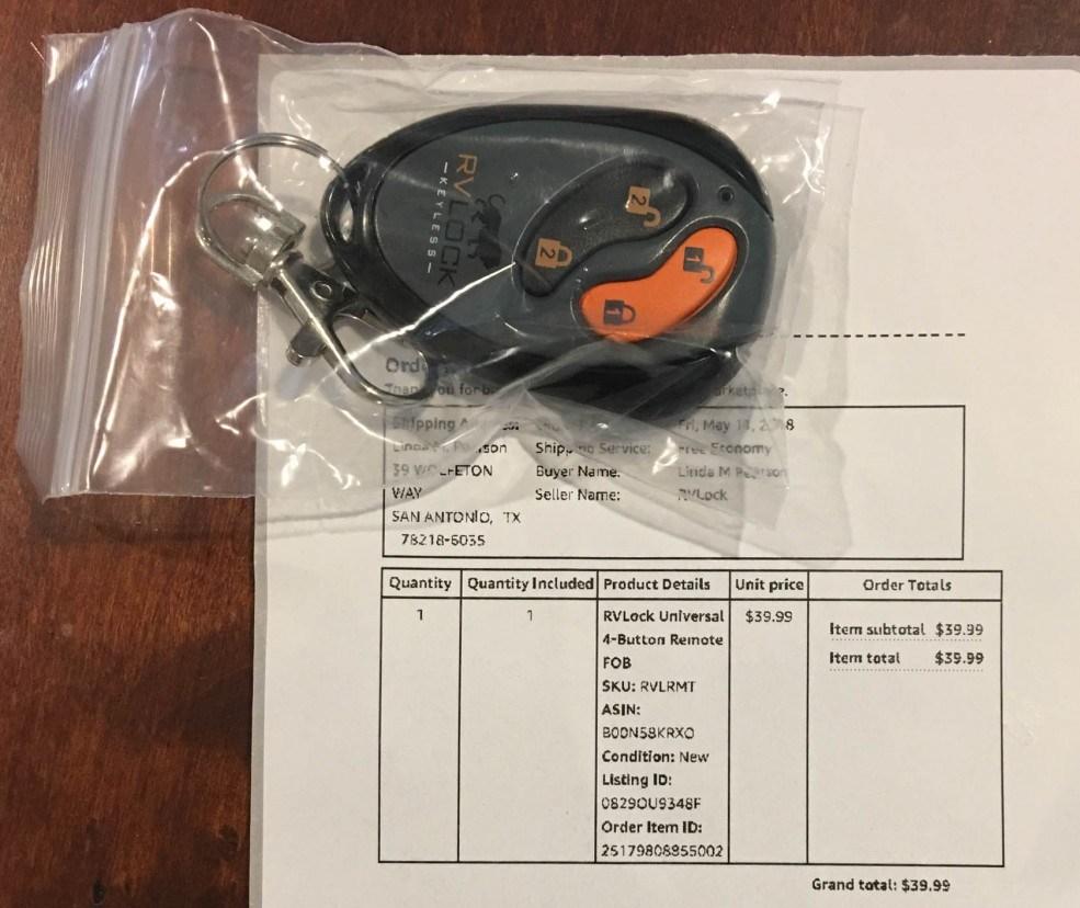 RVLock Universal 4-Button Remote FOB