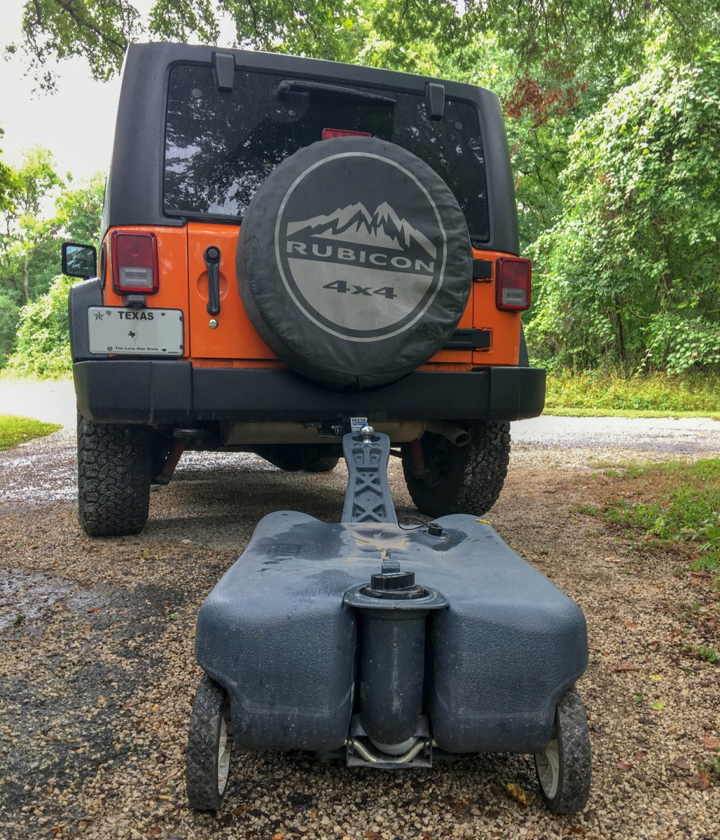 Jeep Towing Portable RV Waste Water Tank