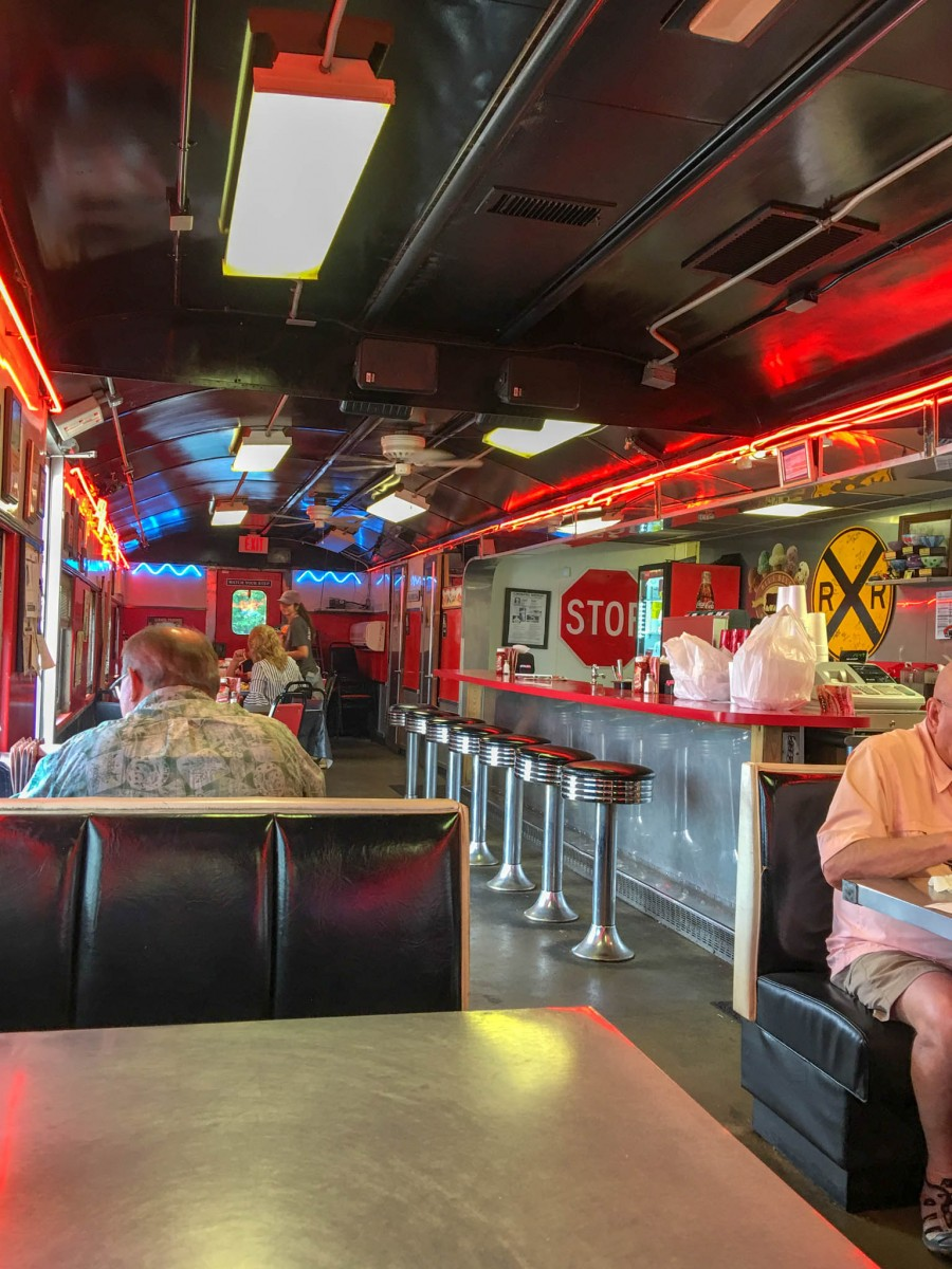 Diner Counter at The Runaway Train Cafe in Brownwood, Texas