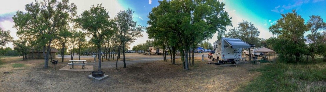 Campsite at Council Bluff Campground in Lake Brownwood State Park