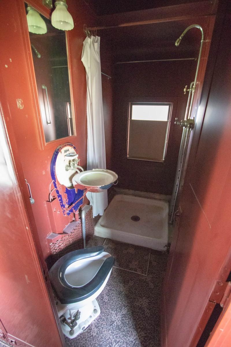 Bathroom With Shower in Santa Fe Railroad Business Car at Lehnis Railroad Museum