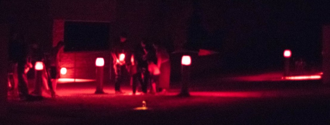 Challenging Walk In Red Dimly Lit Light To Telescope Area