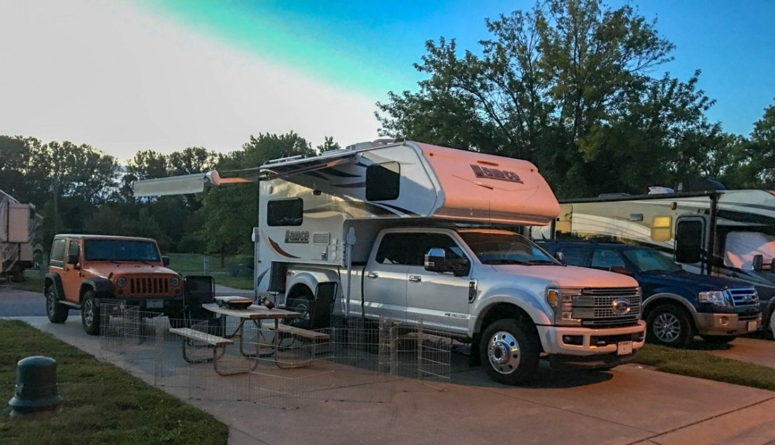 Sundermeier RV Park Campsite at Twilight