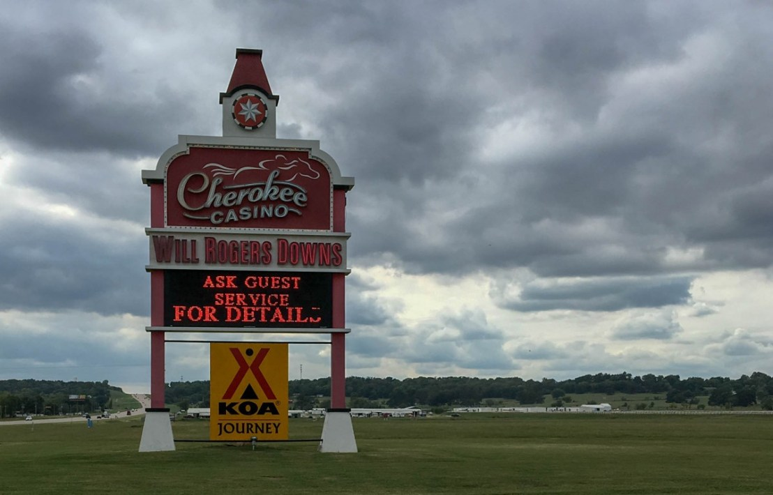 Cherokee Casino Will Rogers Downs KOA Journey Highway Signage