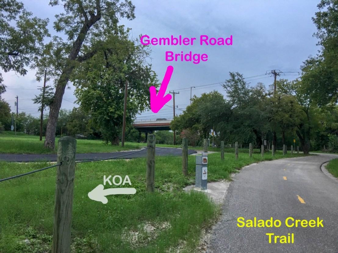 Gembler Road Bridge and Salado Creek Trail Next To San Antonio KOA