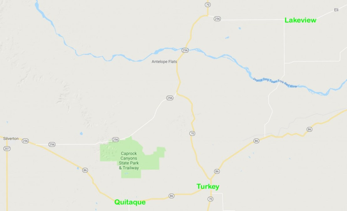 Map Showing Caprock Canyons, Quitaque, Turkey and Lakeview