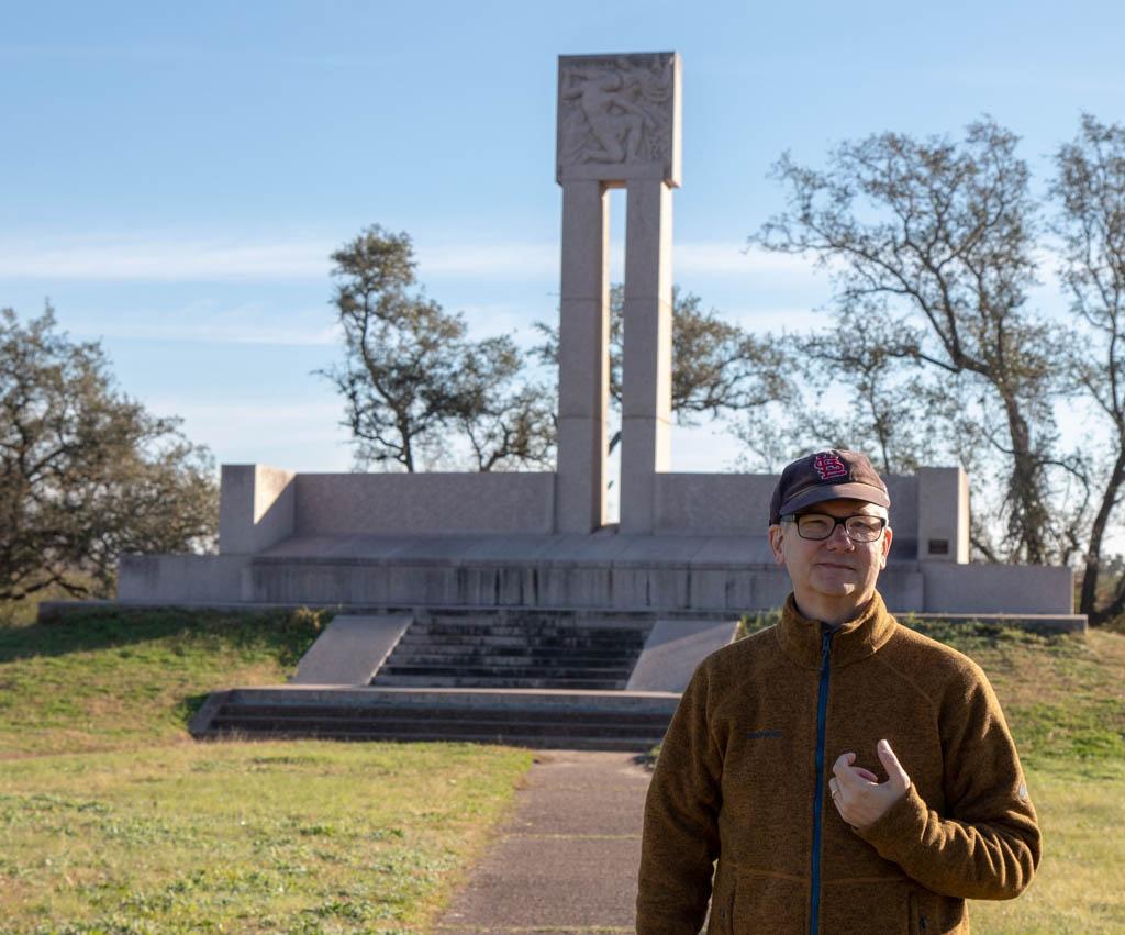 Larry In Front Of Fannin Memorial