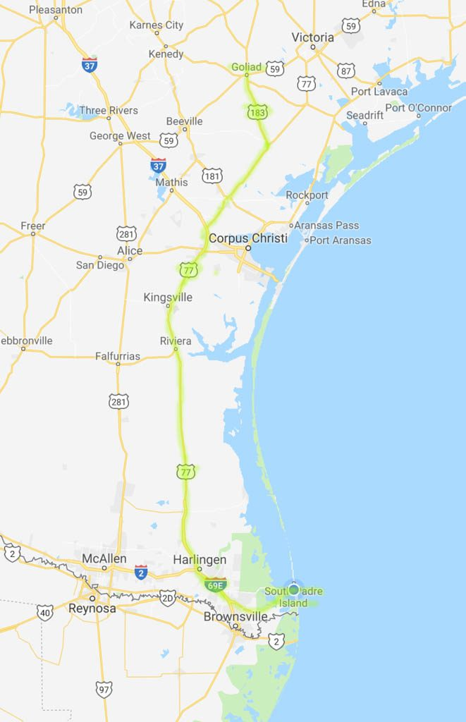 Goliad To South Padre Island Route