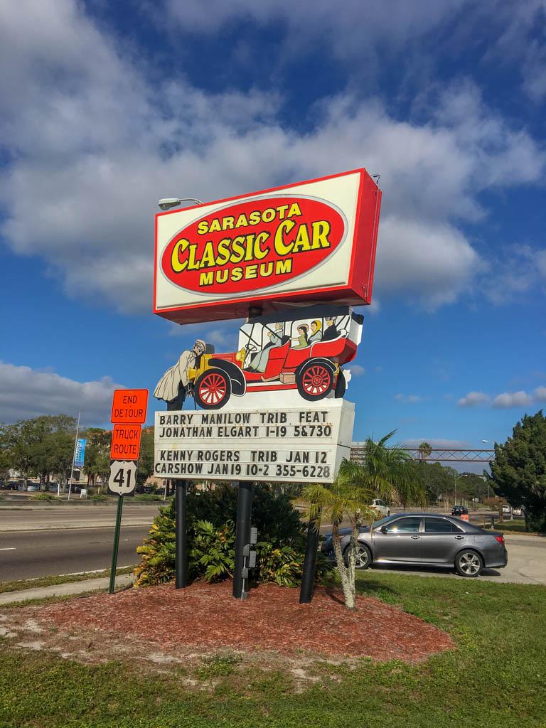 Sarasota Classic Car Museum Road Sign