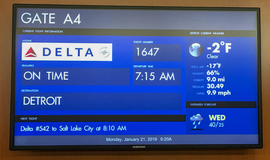 Airline Gate Showing Detroit Current Weather