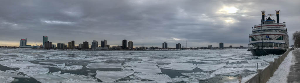 River Cruise Boat In Detroit River Ice On The Riverwalk