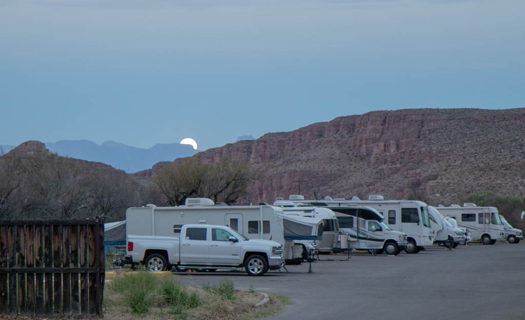 Moonset Over Rio Grande Village RV Campground