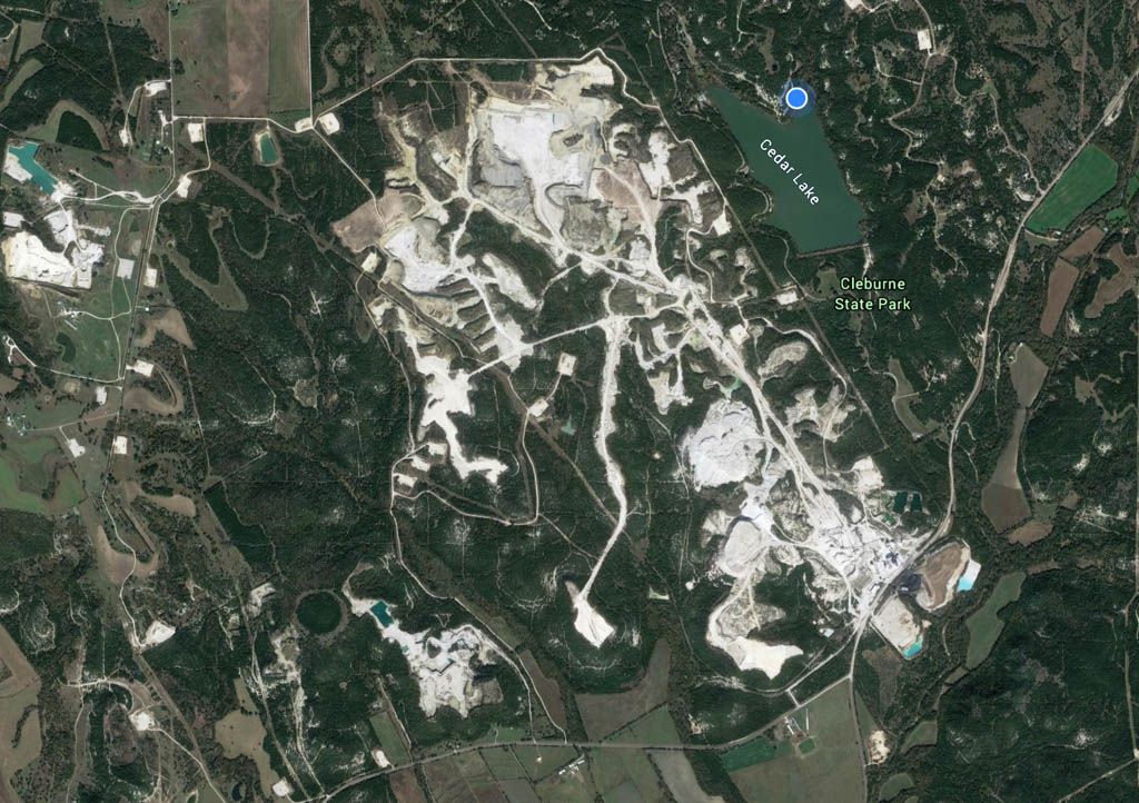 Satellite View Of Park And Quarry