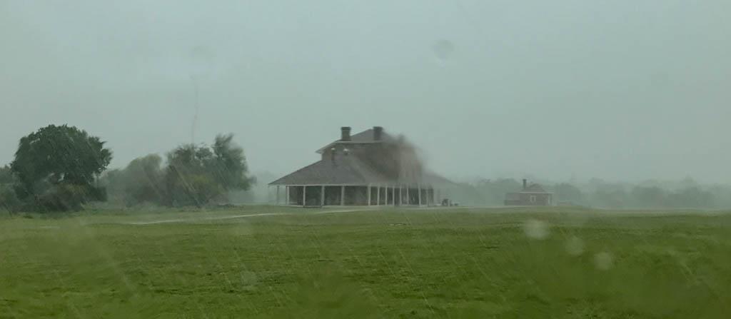 Heavy Rain Falls On Fort Richardson Hospital