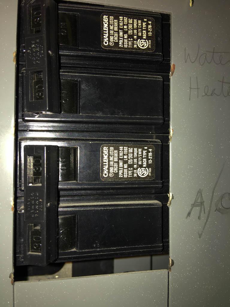 Water Heater Breaker In Electrical Panel