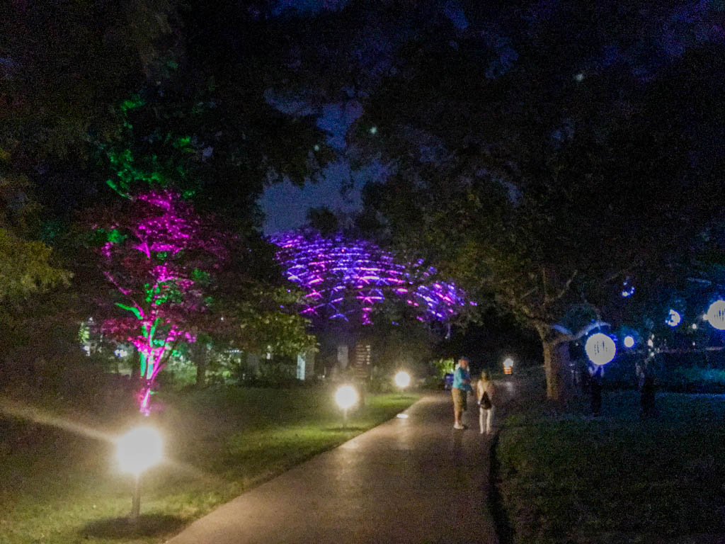 Lit Walkway With Climatron In Background