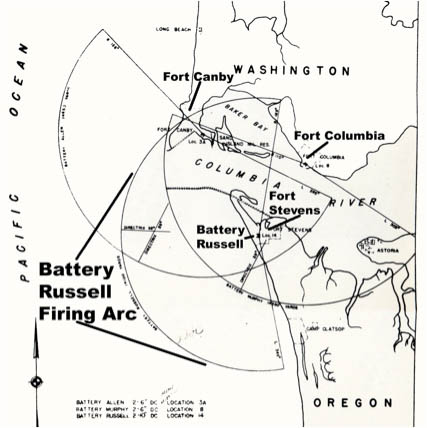 Fort Canby, Fort Columbia and Fort Stevens Firing Arcs