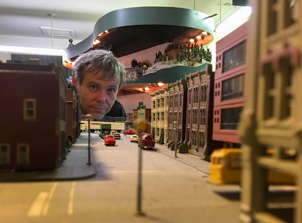 Friend Peering Down An HO Scale Street