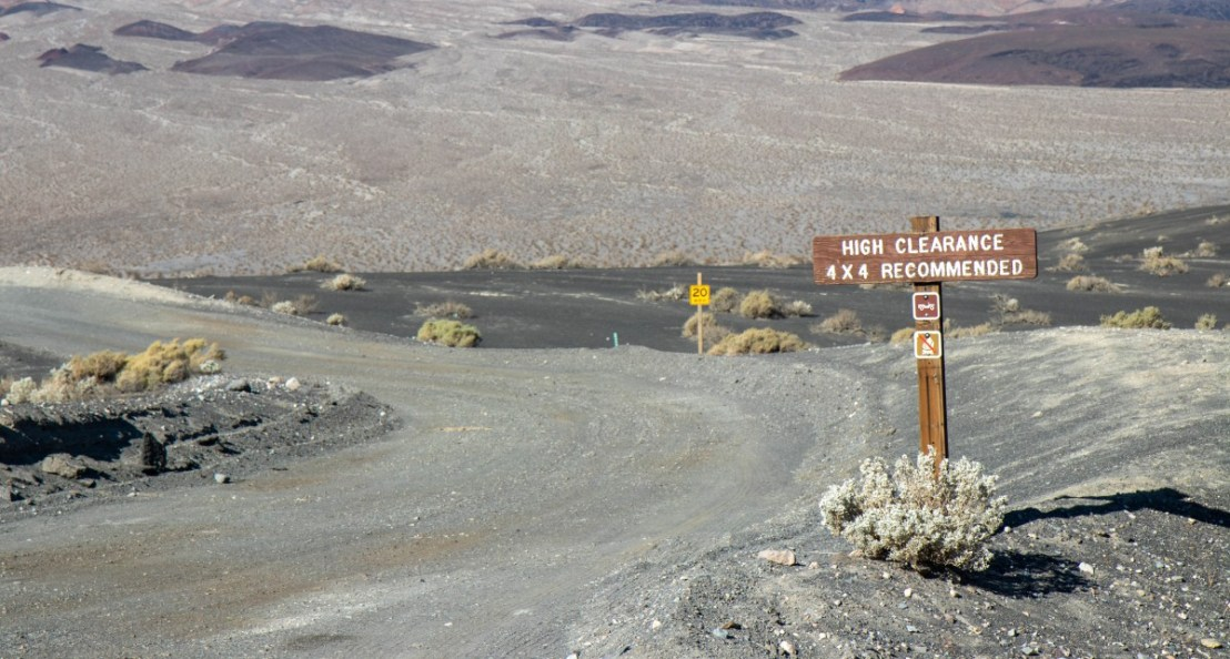 Racetrack Road Begins At Ubehebe Crater