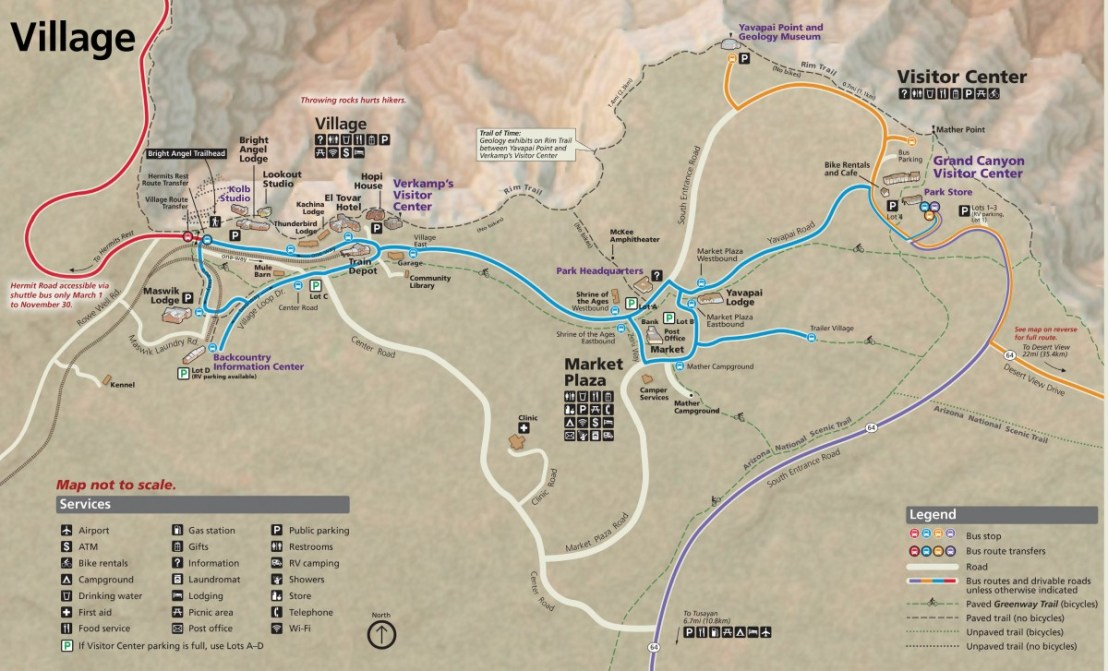 Grand Canyon National Park Pocket Map - South Rim Services Guide
