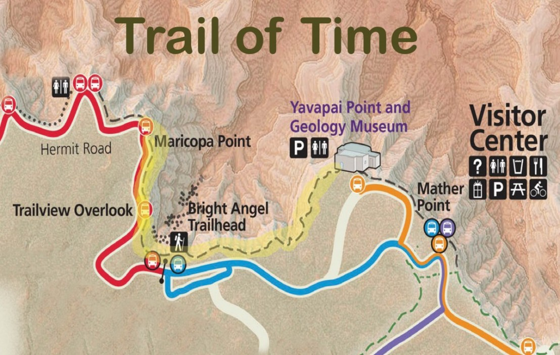Trail Of Time Map, From Maricopa Point to Yavapai Point and Geology Museum
