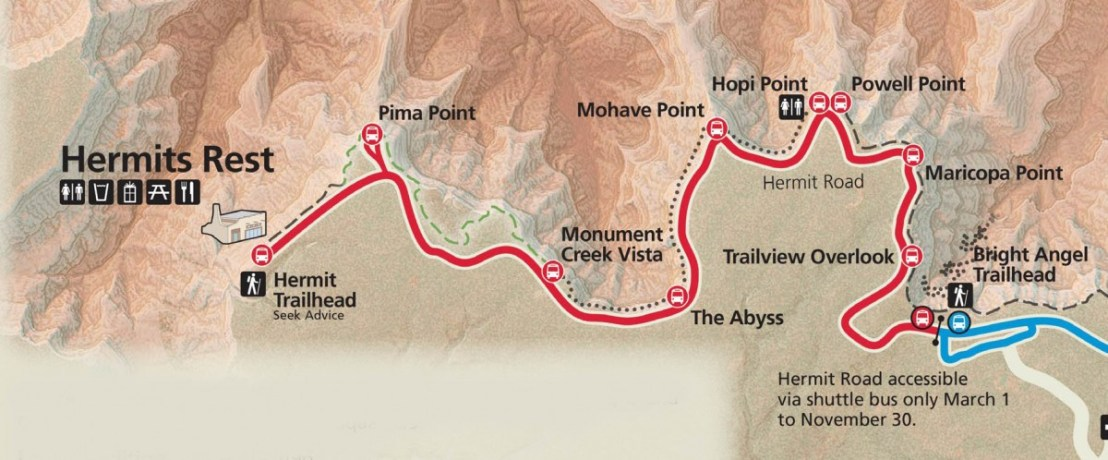 Grand Canyon National Park Hermit Road Map