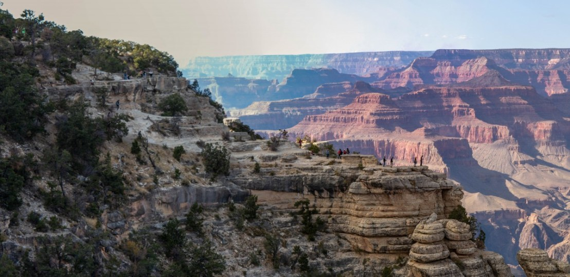 View From Mather Point - People On Adjacent Outcropping