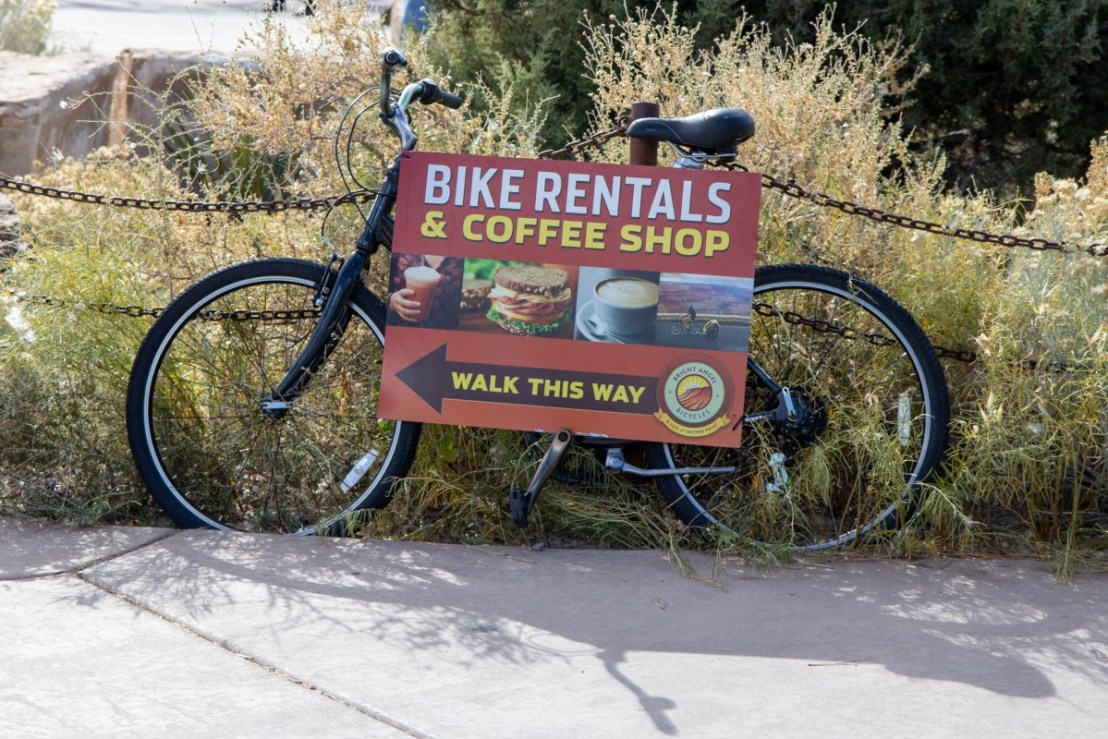 Bike Rentals & Coffee Shop This Way