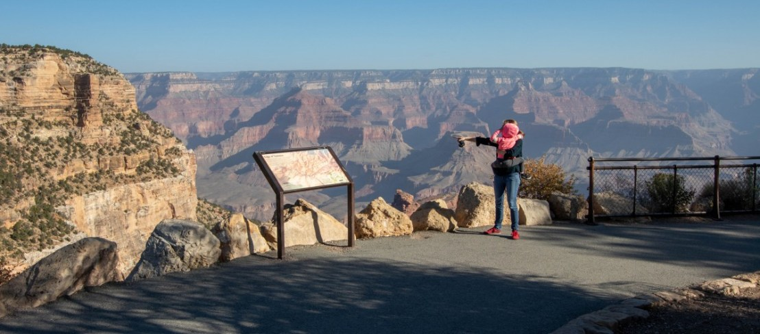 Grand Canyon National Park Rim Trail Viewpoint Of Bright Angel Trail